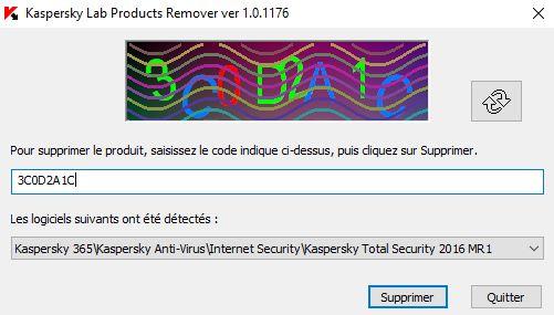 Outil de suppression du logiciel Kaspersky Antivirus