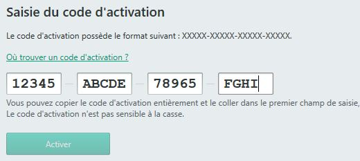 Activation de la licence du logiciel de protection