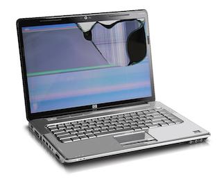 Ecran d'ordinateur cassé qui nécessite d'être changé